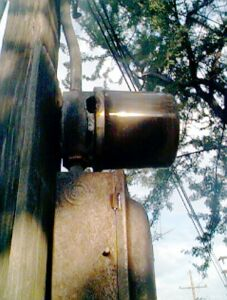Figure 1. A power meter for a water well that was struck by lightning.