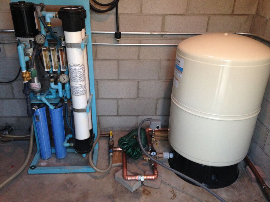 A water treatment system on a private well